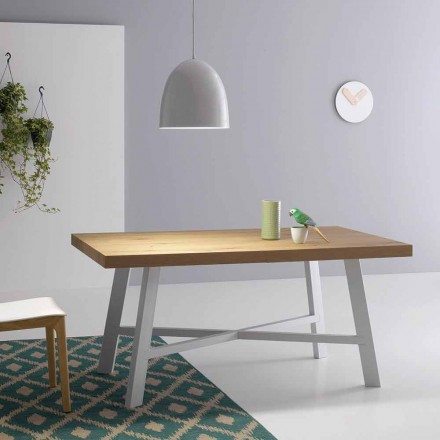 Mesa extensible moderna, superficie en madera maciza - Tricerro