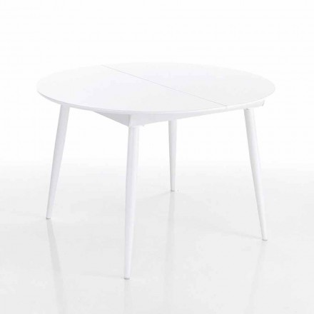 Mesa de comedor redonda extensible en Mdf blanco - Ismaele