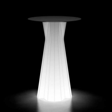 Mesa alta para exterior con base luminosa y tapa de Hpl Made in Italy - Tinuccia