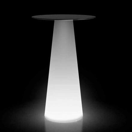 Mesa alta para exterior con luz LED en HPL y polietileno Made in Italy - Forlina