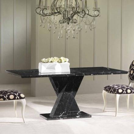 Mesa de comedor de mármol negro, diseño clásico, 200x100 cm Byron