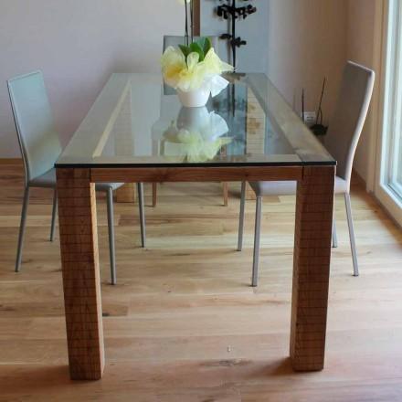 Mesa con sobre de cristal y madera de fresno modero Made in Italy - Asella