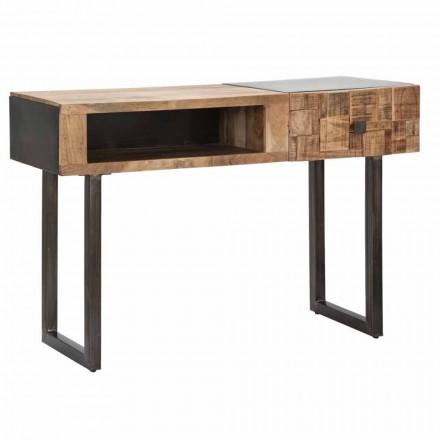 Mesa consola de hierro y madera de acacia con cajón de diseño - Dena