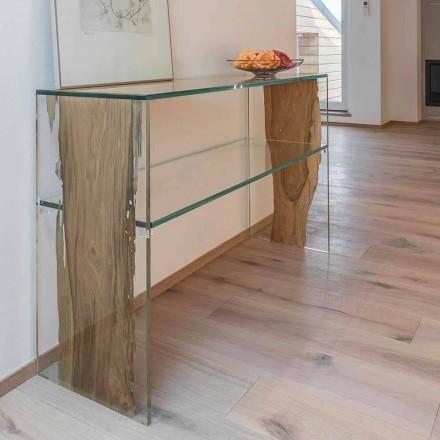 Mesa consola de madera de briccola de Venecia y cristal Fenice