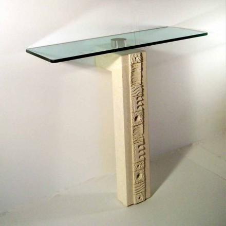 Mesa consola rectangular de piedra Vicenza y cristal Abidos