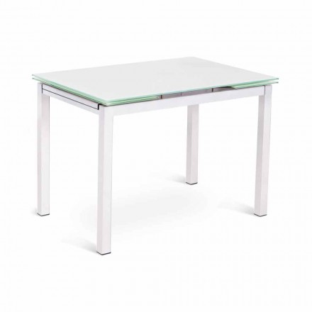 Mesa extensible de diseño moderno de hasta 200 cm en vidrio y metal - Sello