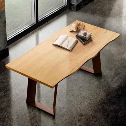 Mesa de comedor en madera maciza y metal fabricada en Italia, Flora.