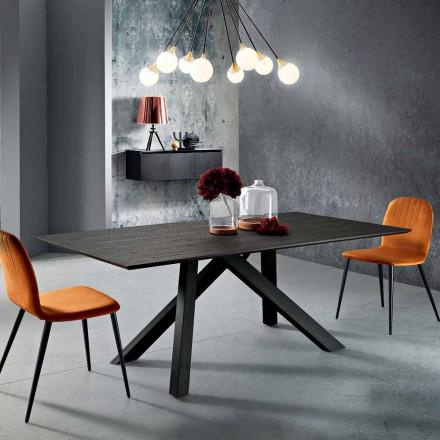 Mesa de comedor en MDF de madera y metal fabricada en Italia, Wilmer