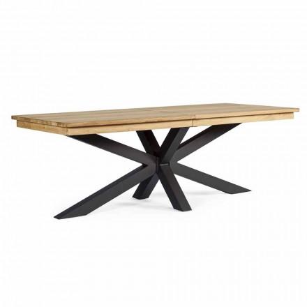 Mesa de exterior extensible hasta 300 cm en teca, Homemotion - Selenia