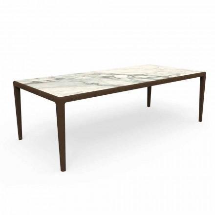 Mesa de diseño para exteriores en madera de teca y gres Capraia - Cruise Teak Talenti