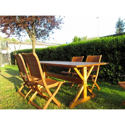 Mesa de madera de abeto de estilo rústico hecha en Italia - Clinio