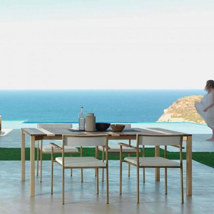 Mesa exterior moderna de madera y acero inoxidable 200x100 Casilda Talenti