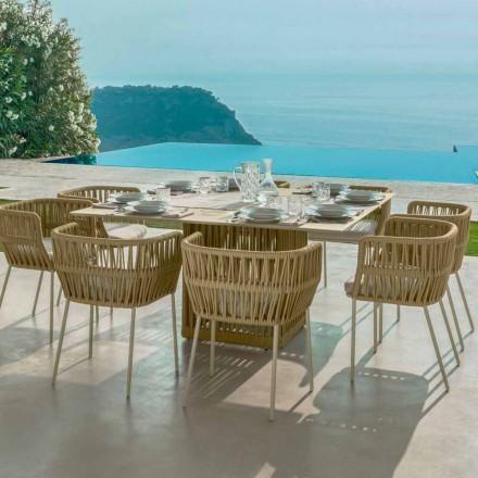 Cliff cuadrado mesa exterior de 150cm, en aluminio Talenti by Palomba