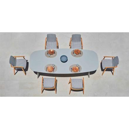 Mesa para exteriores de diseño Ellisse en aluminio coloreado de Varaschin