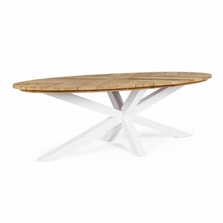 Mesa de jardín con tablero de teca y base de aluminio, Homemotion - Leotto