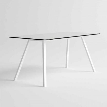 Mesa de jardín de aluminio blanco y diseño moderno laminado HPL - Oceania2