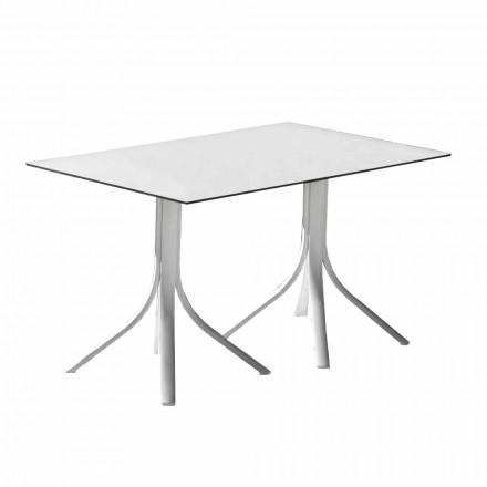 Mesa de jardín de lujo en aluminio y Hpl blanco o bronce - Filomena