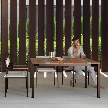 Mesa de jardín de madera y acero inoxidable Casilda Talenti 150x150 cm