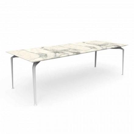 Mesa de jardín rectangular moderna en gres y aluminio - Cruise Alu Talenti