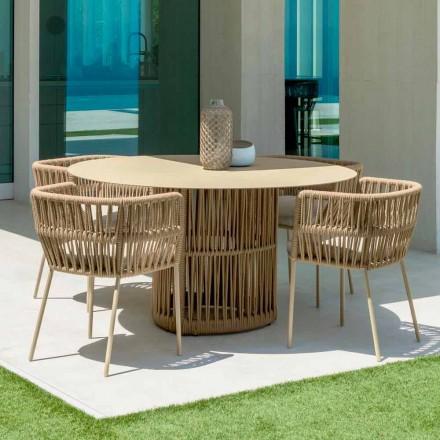 Mesa redonda de aluminio Cliff Talenti para jardín, diseño de Palomba