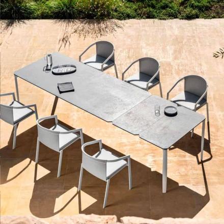 Mesa de comedor extensible de exterior 318 cm en aluminio y gres - Filomena
