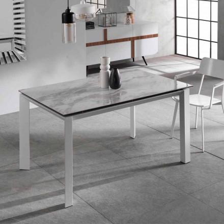 Mesa de comedor extensible con encimera de cerámica de efecto mármol, Nosate
