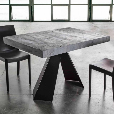 Mesa de comedor extensible hasta 220 cm con tapa de melamina - Amiro