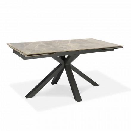 Mesa de comedor extensible hasta 240 cm en metal y cerámica - Laryssa