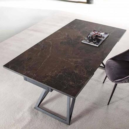 Mesa de comedor extensible hasta 240 cm en acero y vidrio cerámico - Bortolo
