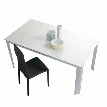 Mesa de comedor extensible hasta 250 cm en vidrio mate Made in Italy - Namiba