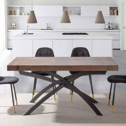 Mesa de comedor extensible hasta 260 cm en madera de melamina y metal - Lukas