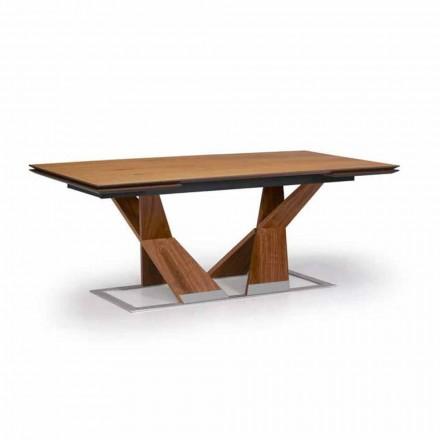 Mesa de comedor extensible hasta 294 cm en madera Made in Italy - Monique
