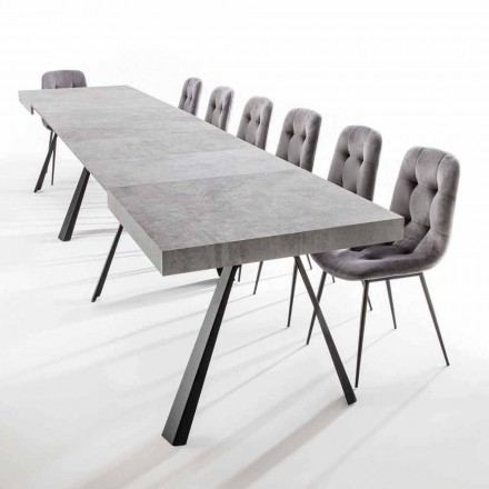 Mesa de comedor extensible hasta 500 cm con tapa de melamina - Raimondo
