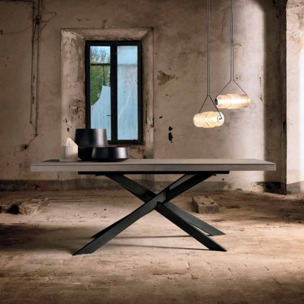 Mesa de comedor extensible en madera de roble L315cm hecha en Italia Oncino
