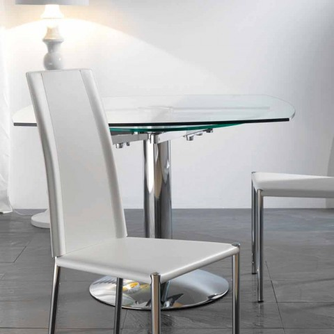 Mesa de comedor extensible de vidrio templado 110x110 - Mesas de vidrio templado ...