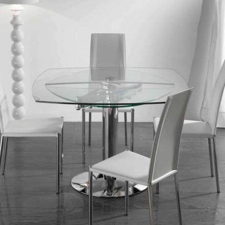 Mesa de comedor extensible de vidrio templado 110x110 modelo Onda