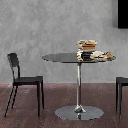 Mesa de comedor con tapa de cristal y base cromada Made in Italy - Tallio