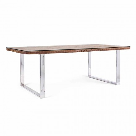 Mesa de comedor Homemotion con tapa de madera y vidrio templado - Blanco