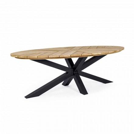 Mesa de comedor para exterior Homemotion con tapa ovalada en teca - Selenia
