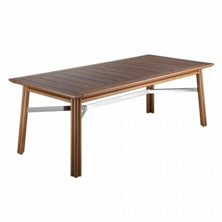 Mesa de comedor de jardín en madera natural o negra, lujo italiano - Suzana