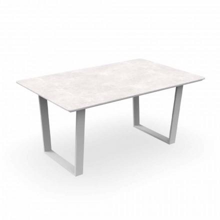 Mesa de comedor de jardín moderno de aluminio y Gres - Alabama Alu Talenti