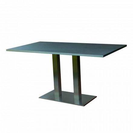Mesa de comedor de diseño con tapa de piedra laminada, 160x90cm, Newman