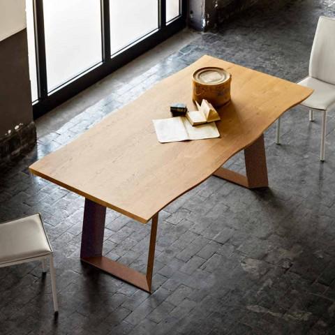 Mesa de comedor de diseño moderno 100x200 cm en madera y metal Flora