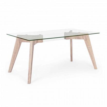 Mesa de comedor de diseño moderno Homemotion con tapa de cristal - Piovra