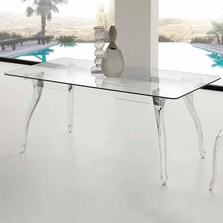 Mesa de comedor de diseño con tablero de vidrio templado Jinny