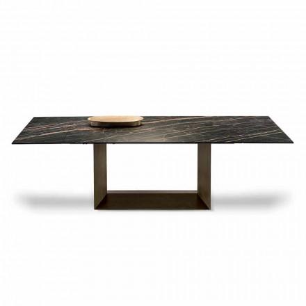 Mesa de comedor extensible en cerámica y metal Made in Italy - Marrón oscuro