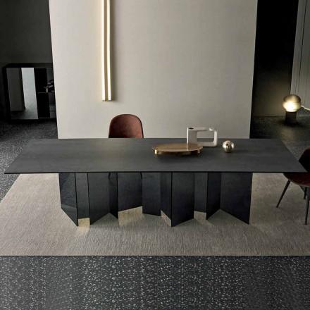 Mesa de comedor de diseño en base de cerámica y vidrio ahumado Made in Italy - Random