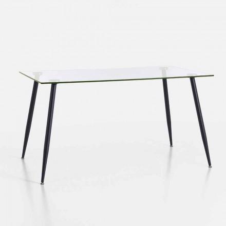 Mesa de comedor de diseño moderno en vidrio templado y metal negro - Foulard