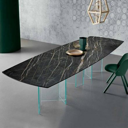 Mesa de comedor de cerámica y base de vidrio extraligero Made in Italy - Aleatorio