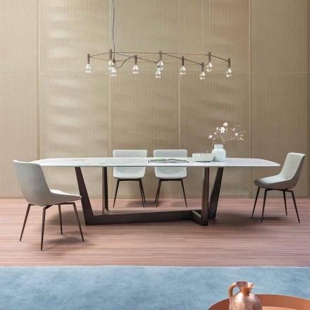 Mesa de comedor de bronce, cerámica y metal Made in Italy - Art
